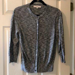 LOFT Charcoal Grey Button Cardigan